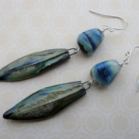 sterling silver lampwork and blue leaf earrings