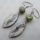 puck copper, lampwork and ceramic earrings