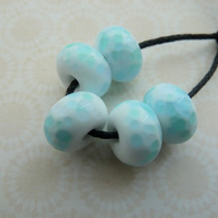 lampwork glass beads, white and blue frit set