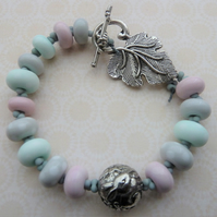 handmade lampwork and pewter rabbit bracelet