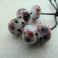 lampwork glass cherry frit beads, handmade set