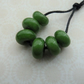 lampwork glass spacer beads, green set