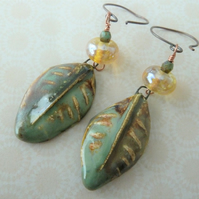 lampwork yellow and green leaf earrings