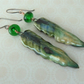 handmade lampwork green and ceramic leaf copper earrings