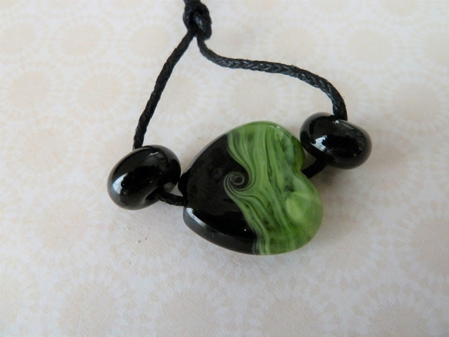 black and green heart, lampwork glass bead