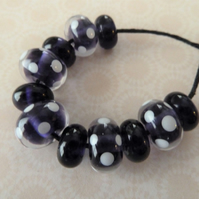 purple spot lampwork bead set