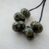 chocolate raku, handmade lampwork glass beads