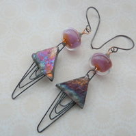 copper and lampwork earrings, pink ceramic jewellery