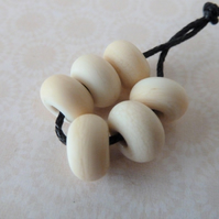 lampwork glass ivory spacer beads, tumbled smooth set