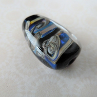 lampwork glass black and silver focal bead