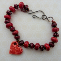 lampwork and ceramic red heart copper bracelet