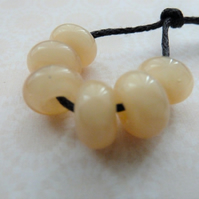 lampwork glass cream spacer beads