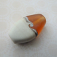 lampwork glass amber and ivory beach focal bead