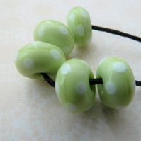 green and white spot lampwork glass beads