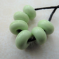 green spacer lampwork glass beads