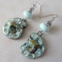 silver ammonite ceramic and lampwork earrings