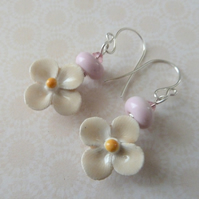 handmade sterling silver ceramic flower earrings