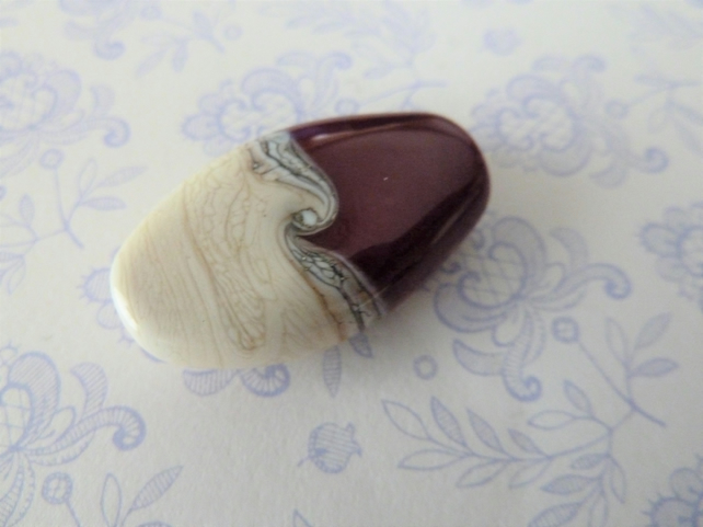 handmade lampwork glass focal bead, red and ivory