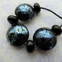 black and silver lampwork glass beads