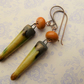 orange, yellow and green copper earrings