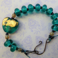 lampwork teal and gold heart bracelet