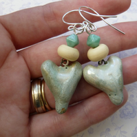pale blue heart silver earrings
