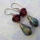 red and blue lampwork, cermaic and blue earrings