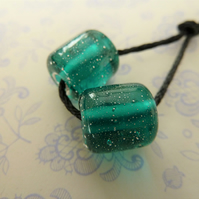 lampwork glass teal and silver barrel beads
