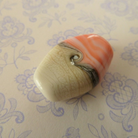 lampwork glass orange and ivory focal bead