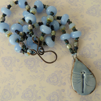 blue dragonfly lampwork, ceramic and copper necklace