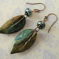 lampwork, copper and ceramic leaf earrings