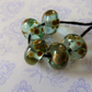 handmade lampwork glass beads, aqua raku set