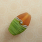orange and green frosted lampwork glass focal bead