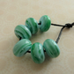 green and blue lampwork glass beads