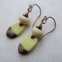 copper and lampwork lemon ceramic drop earrings