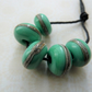 lampwork glass green glass beads