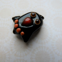 handmade lampwork glass black bird bead