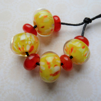 yellow frit handmade lampwork glass beads