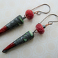 red and grey lampwork and ceramic copper earrings