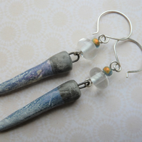 ice stainless steel earrings. ceramic and lampwork