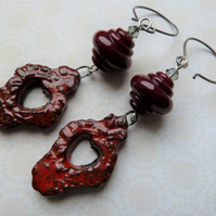 red gothic earrings, ceramic, steel and lampwork