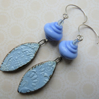 blue drop sterling silver earrings, lampwork and ceramic