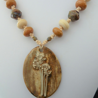 lampwork, ceramic fennel pendant, copper necklace