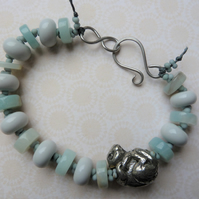 grey lampwork and pewter mouse bracelet