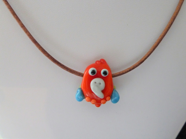 lampwork glass parrot cord necklace