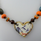 fox necklace, lampwork, cermic and copper