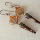 copper, lampwork shell and ceramic spike earrings