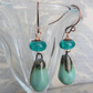 handmade copper, lampwork and ceramic teal earrings