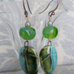 lampwork, copper and ceramic green and blue leaf earrings