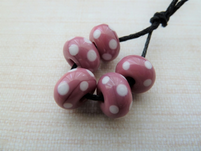 lampwork glass pink and white spot handmade beads
